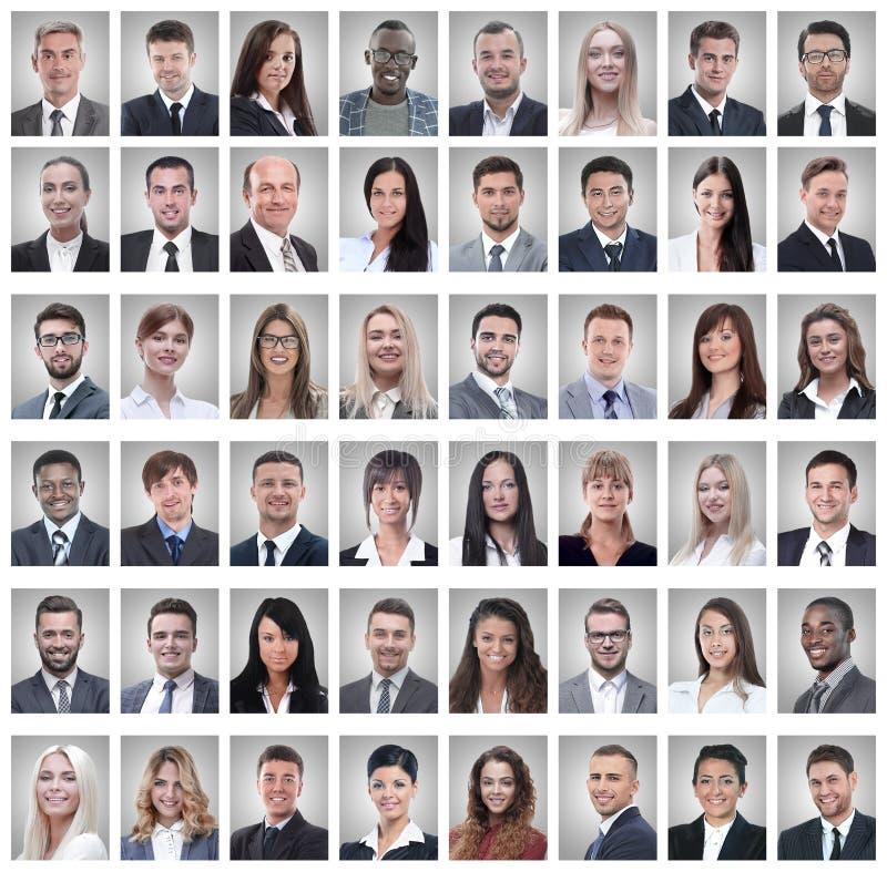 Portretten van een groep succesvolle die werknemers op wit worden geïsoleerd royalty-vrije stock foto's