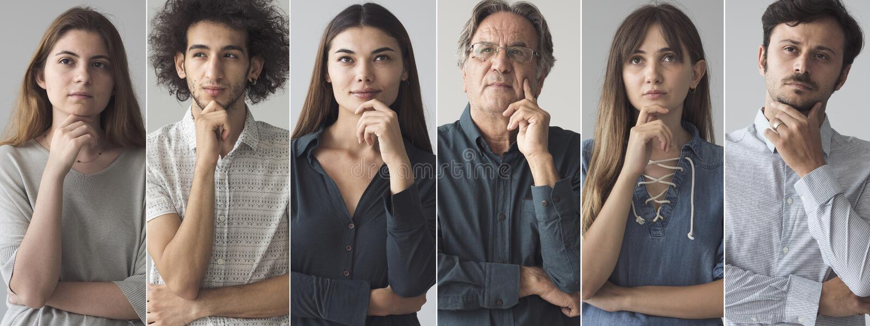 Portretten van het denken mensencollage stock fotografie