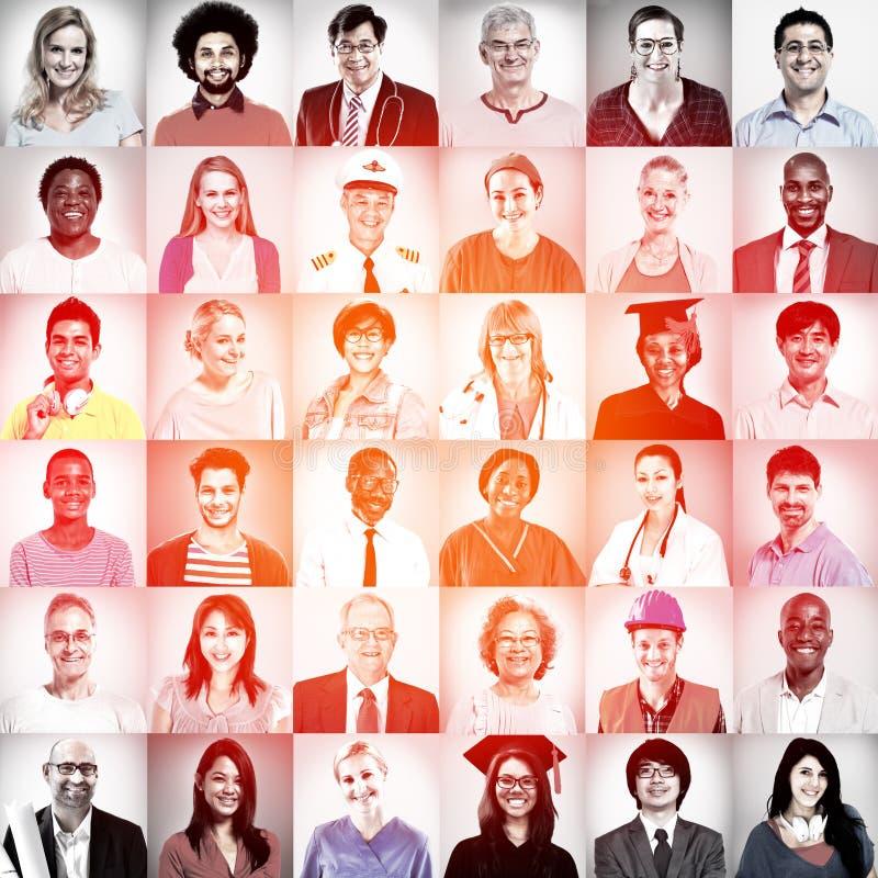 Portretten van het Multi-etnische Gemengde Concept van Beroepenmensen stock afbeeldingen