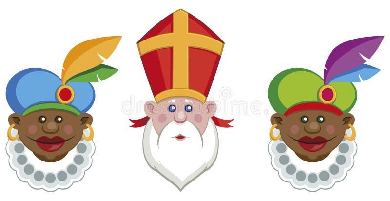 Portretten van Sinterklaas en zijn kleurrijke helpers stock illustratie