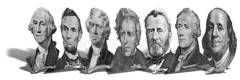 Portretten van voorzitters en politici van dollars stock afbeelding