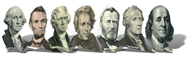 Portretten van voorzitters en politici van dollars royalty-vrije stock afbeelding