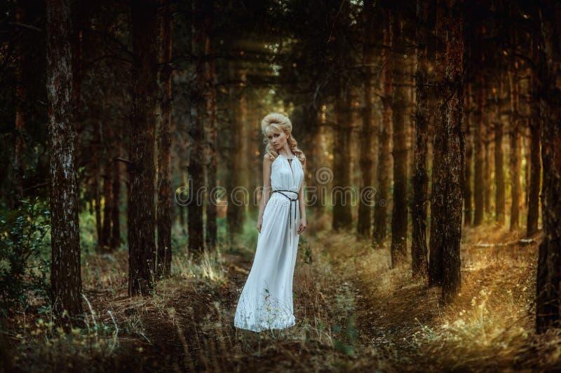 Portretvrouw in bos stock afbeelding