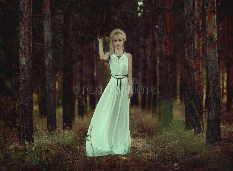Portretvrouw in bos royalty-vrije stock fotografie