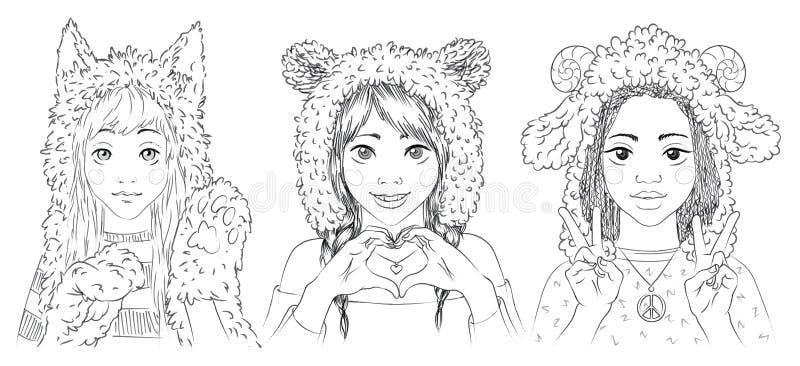 Portrety śliczne młode dziewczyny w zwierzęcych kapeluszach royalty ilustracja