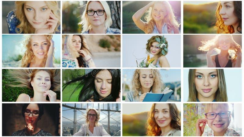 Portrety pomyślne i szczęśliwe kobiety, kolaż fotografie zdjęcie stock