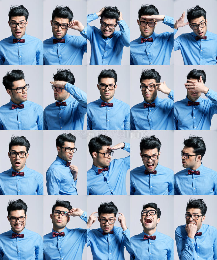 Portrety z różnymi wyrażeniami młody człowiek obrazy royalty free