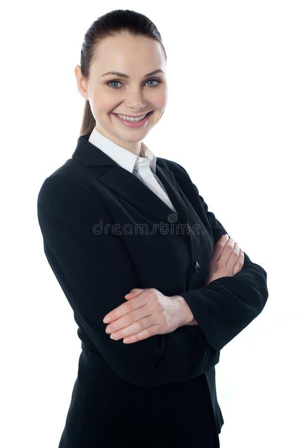 Portriat de la señora corporativa, sonriendo imagenes de archivo