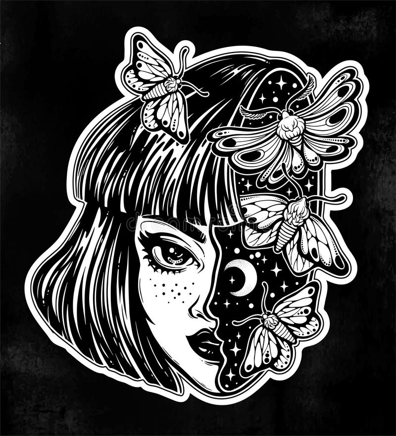 Magic girls head as sky full of moth butterflies. royalty free illustration