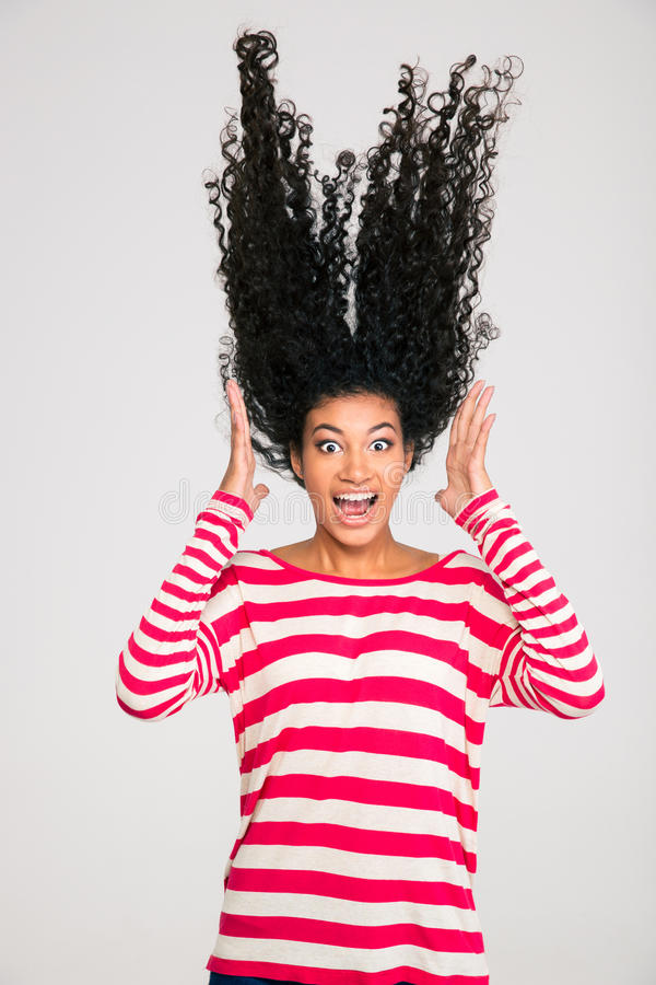 Portriat of scared afro american woman screaming stock images