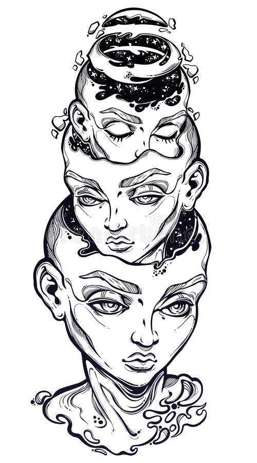 Portriat of the surreal head reminding of glitch Russian doll. Metaphor for imagination or obsessive thoughts. royalty free illustration