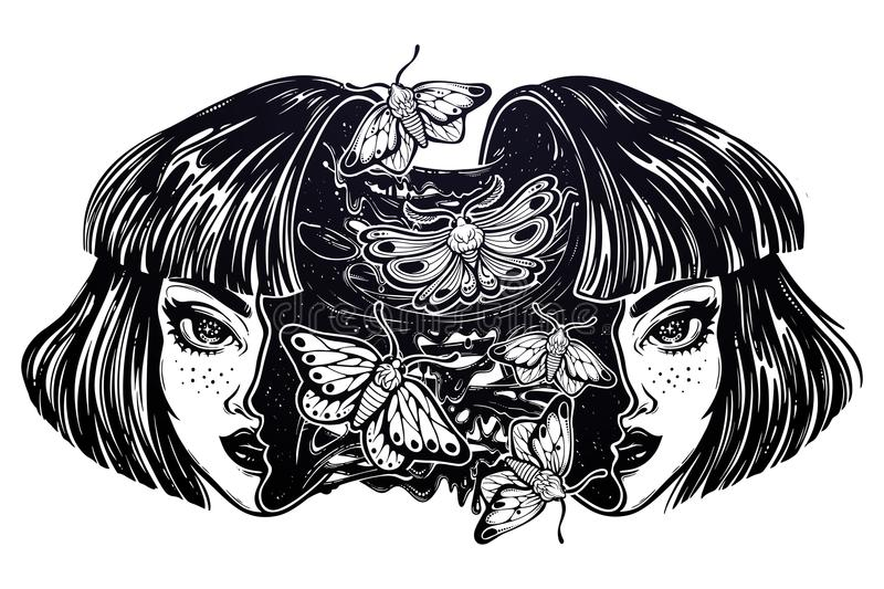 Girl with a head full of goo, moth butterflies. royalty free illustration