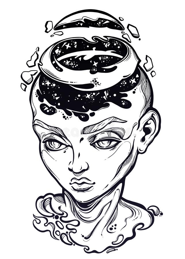 Portriat of the surreal human girl with a head open and space coming out. royalty free illustration
