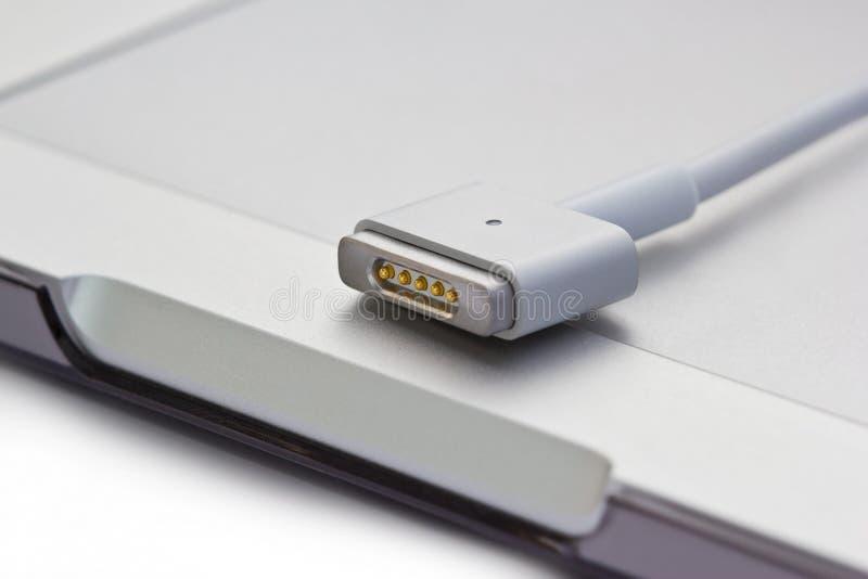 Ports de puissance de Magsafe d'ordinateur portable photo stock