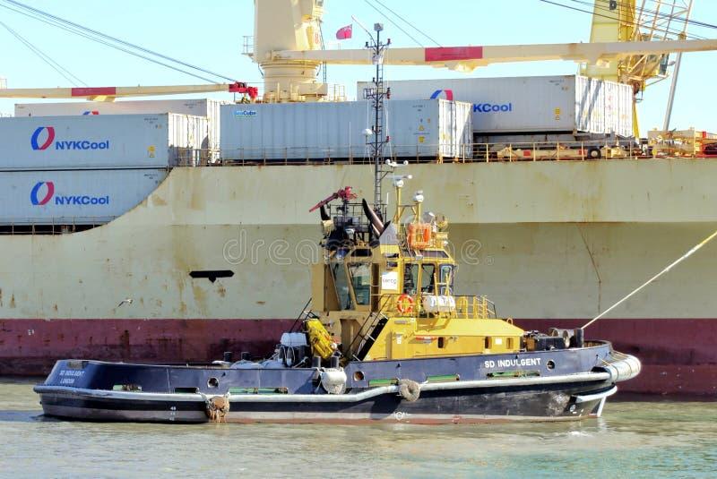 PORTSMOUTH, ANGLETERRE, LE 29 MAI 2016 : Écart-type de remorqueur indulgent à côté d'un navire porte-conteneurs images libres de droits