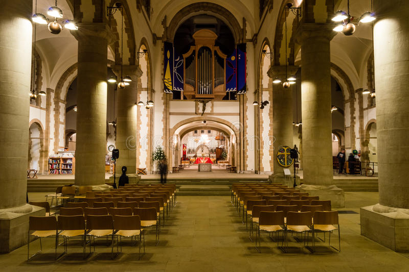 Portsmouth Cathedral - Nave. ENGLAND, PORTSMOUTH - 18 OCT 2015: Portsmouth Cathedral - Nave royalty free stock images