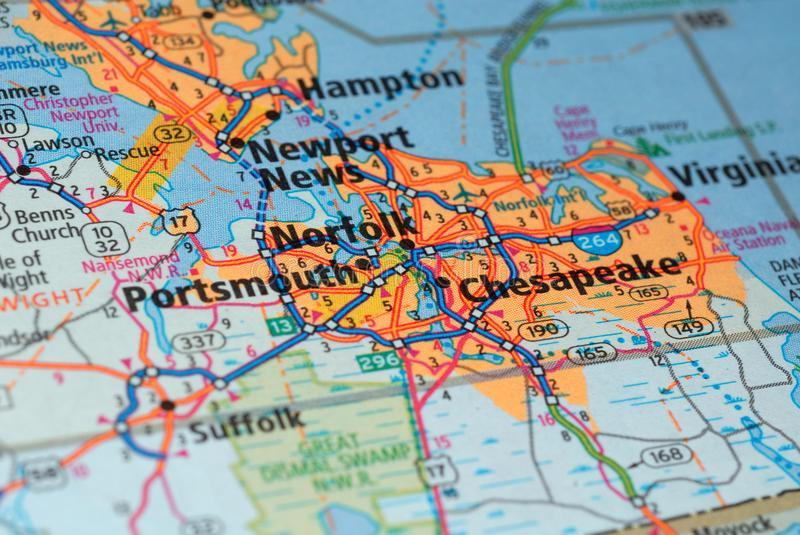 Roads on the map around Portsmouth city, USA, march 2018. Portsmouth is a city of the United States of America, part of Rockingham County in the state of New royalty free stock photography