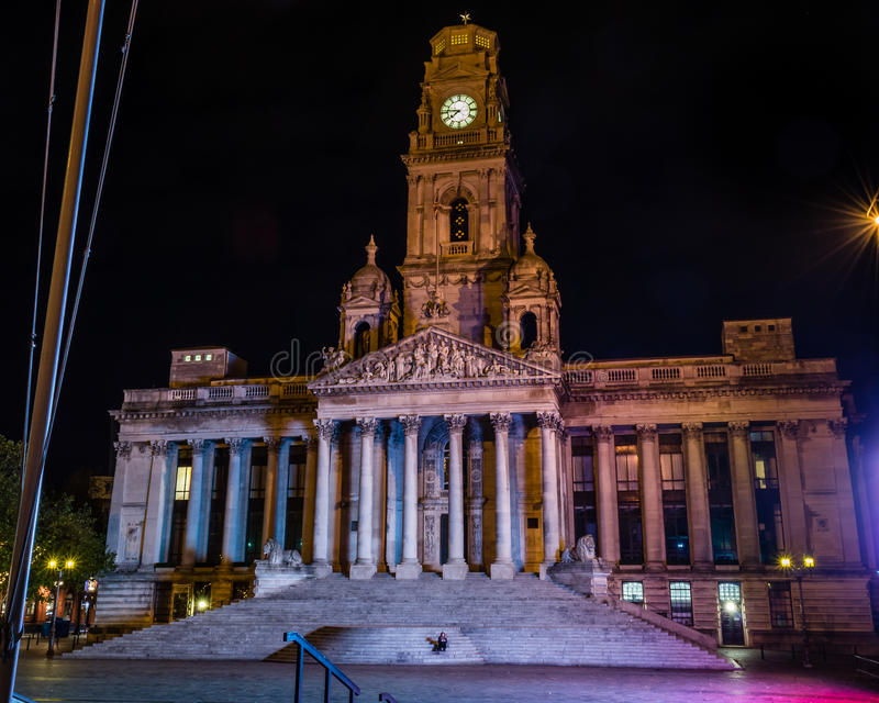 Portsmouth Guildhall by night. ENGLAND, PORTSMOUTH - 18 OCT 2015: Portsmouth Guildhall by night stock photography