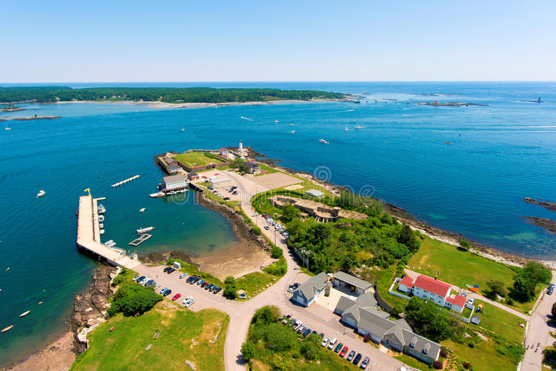 Portsmouth-Hafen-Leuchtturm, neues Schloss, NH, USA stockfoto