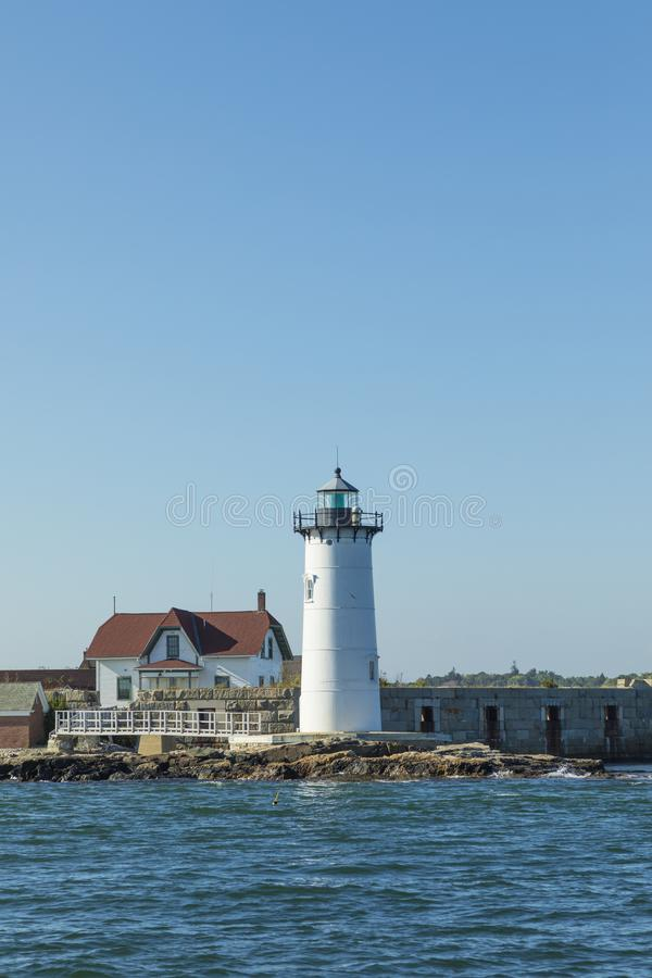 Portsmouth-Hafen-Leuchtturm und Fort-Konstitutions-Zustand Histori stockbilder