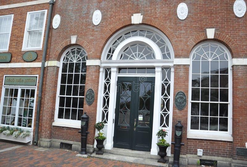 Portsmouth, il 30 giugno: Dettagli della costruzione di Athenaeum da Portsmouth del centro in New Hampshire di U.S.A. immagine stock libera da diritti