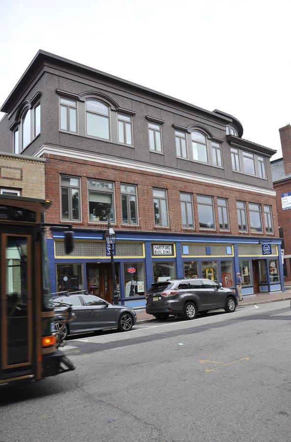 Portsmouth, 30 Juni: Historische Gebouwen van Portsmouth Van de binnenstad in New Hampshire van de V.S. royalty-vrije stock afbeelding