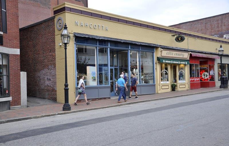 Portsmouth, 30 Juni: Historische Straat van Portsmouth Van de binnenstad in New Hampshire van de V.S. royalty-vrije stock foto's