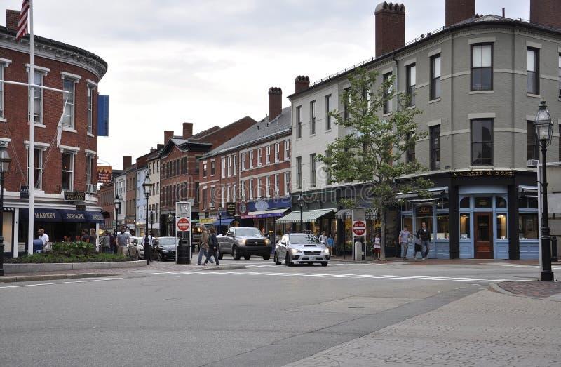 Portsmouth, 30 Juni: Marktvierkant van Portsmouth Van de binnenstad in New Hampshire van de V.S. stock afbeelding