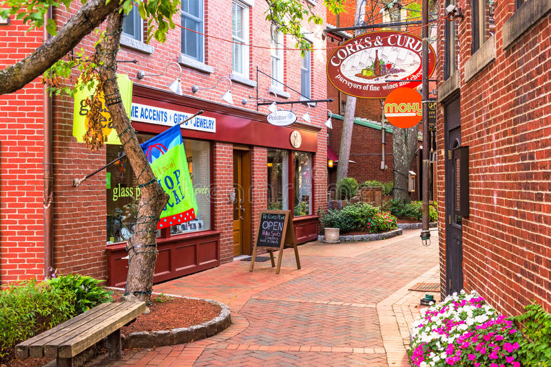 Portsmouth New Hampshire Alley and Shops royalty free stock images