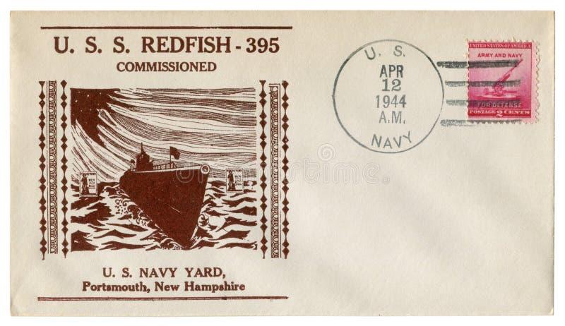 Portsmouth, New Hampshire, Etats-Unis - 12 avril 1944 : Enveloppe historique des USA : couverture avec des rougets communs d'USS  photos libres de droits