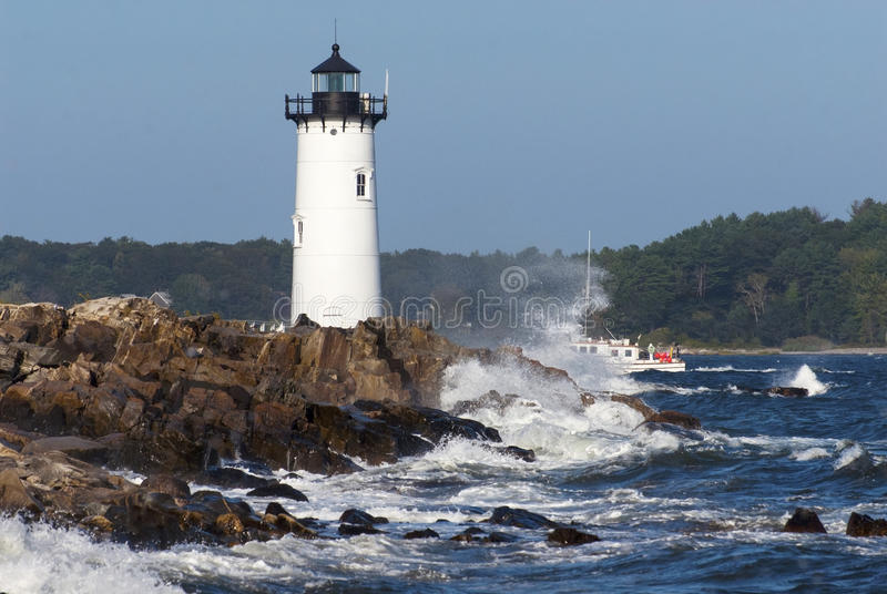Portsmouth NH Lighthouse Guiding Fishing Boats royalty free stock photos