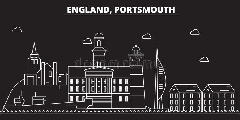 Portsmouth-Schattenbildskyline Großbritannien- - Portsmouth-Vektorstadt, britische lineare Architektur Portsmouth-Reise lizenzfreie abbildung