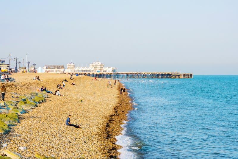 Portsmouth strand i sommaren arkivfoton