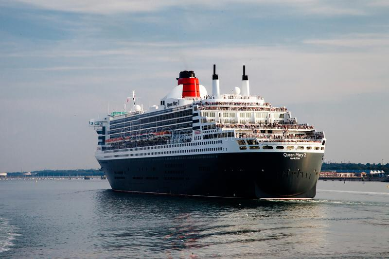 Portsmouth, UK, September 9, 2014- Queen Mary II ship stock photography