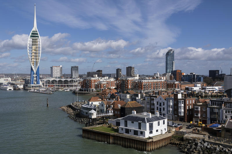 Portsmouth - United Kingdom. The harbor area and Spinnaker Tower in the city of Portsmouth on the south coast of England in the United Kingdom stock photography