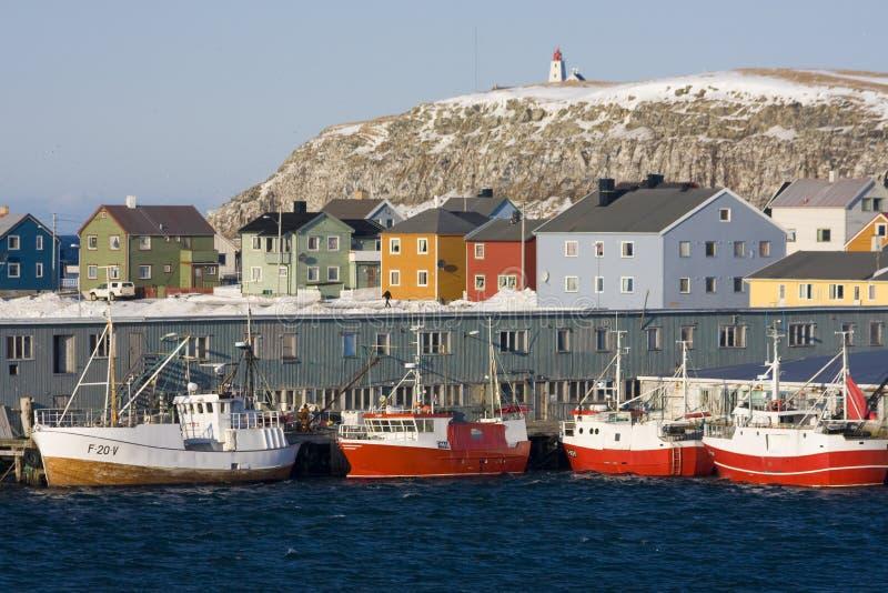 Portuário e barco de pesca fotos de stock royalty free