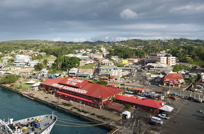 Portualdistrict - het eiland van Tobago - Caraïbische overzees stock foto's