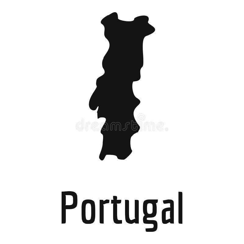 Portugal översikt i svart enkelt royaltyfri illustrationer