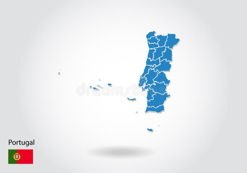 Portugal översiktsdesign med stil 3D Blå Portugal översikt och nationsflagga Enkel vektoröversikt med konturen, form, översikt, p stock illustrationer