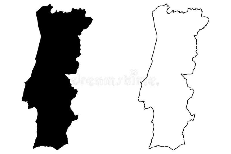 Portugal översiktsvektor royaltyfri illustrationer