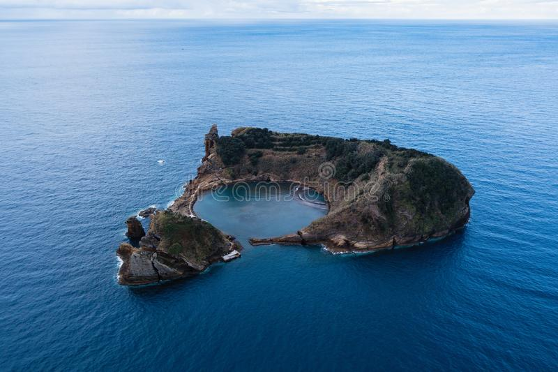 Portugal. Aerial view of the Islet of Vila Franca do Campo royalty free stock photography