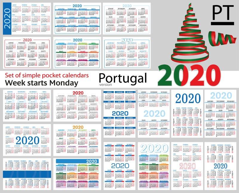 Portugal ajustou-se de calendários do bolso para 2020 ilustração royalty free