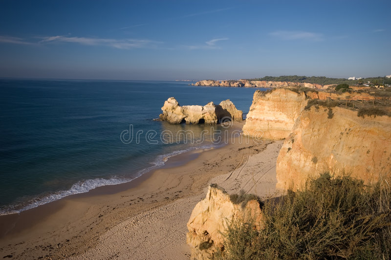 Portugal algarve coastline stock image