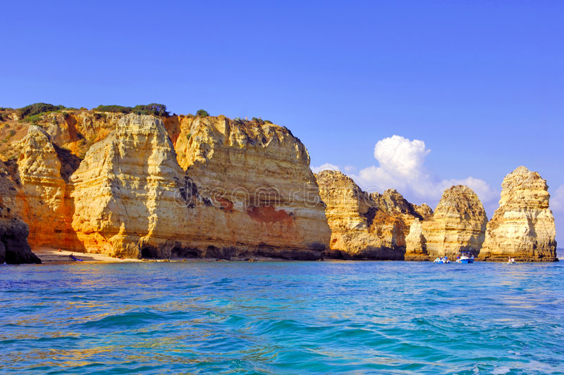 Portugal, Algarve, Lagos: Prachtige kustlijn stock foto