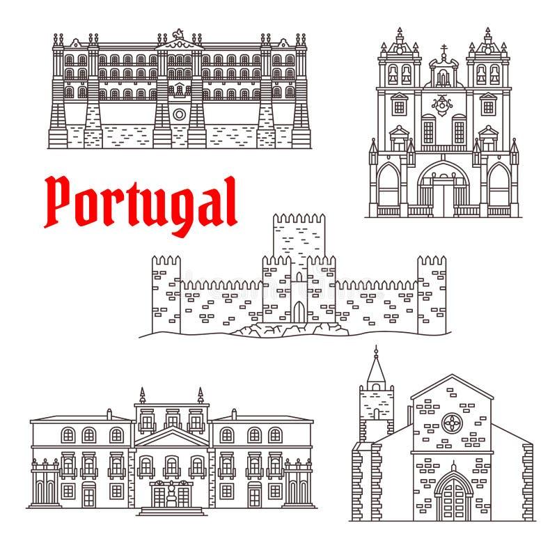 Portugal architecture landmarks vector buildings. Portugal landmarks and Portuguese famous architecture buildings. Vector isolated icons and facades of Santa stock illustration