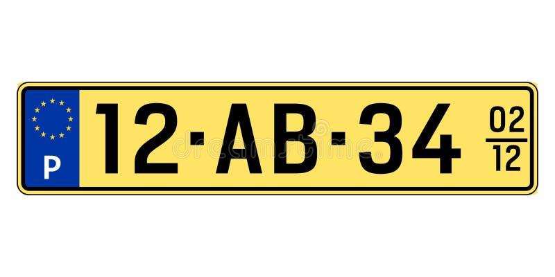 Portugal-Autoplatte Polizeiliches Kennzeichen vektor abbildung