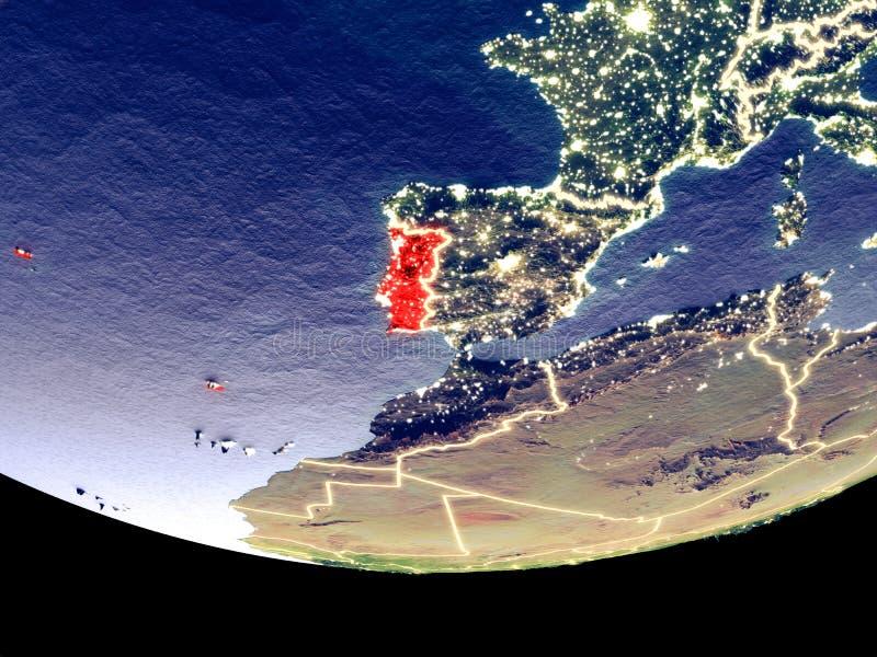 Portugal bij nacht van ruimte royalty-vrije stock foto's