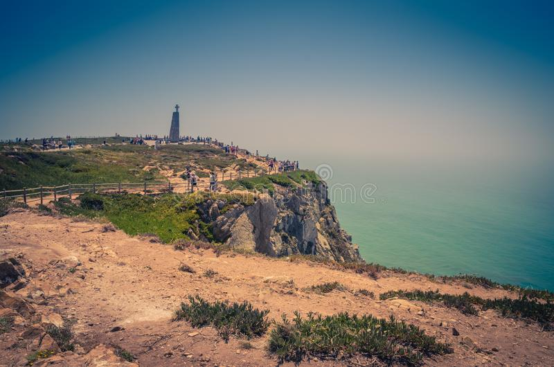 Portugal, The Western Cape Roca of Europe, Atlantic ocean coastline view from Cabo da Roca. Portugal, Cabo da Roca, The Western Cape Roca of Europe, a group of royalty free stock images