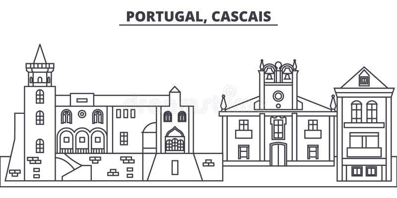 Portugal, Cascais-de vectorillustratie van de lijnhorizon Portugal, lineaire cityscape van Cascais met beroemde oriëntatiepunten, vector illustratie