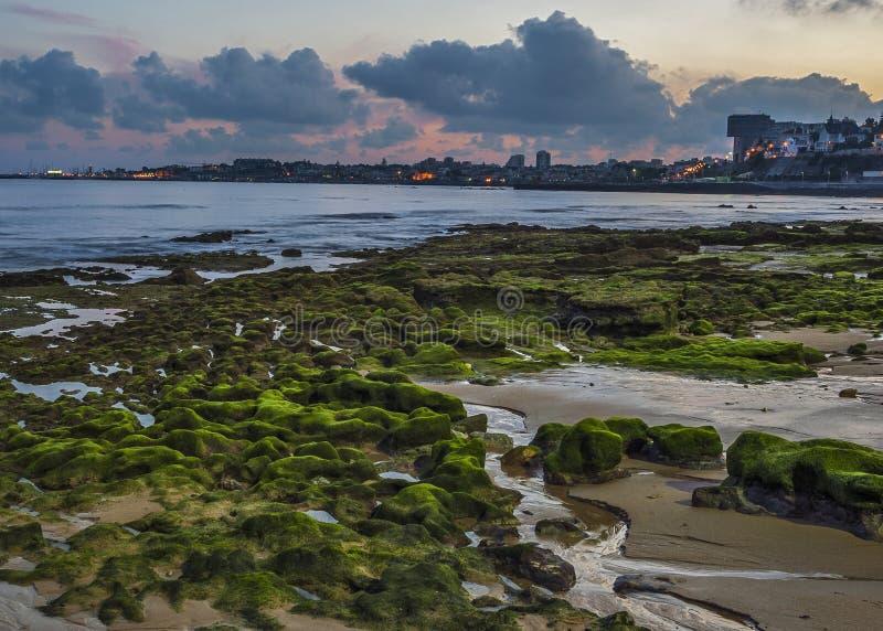 Portugal, Cascais Tira litoral atlântica, nivelando imagens de stock royalty free